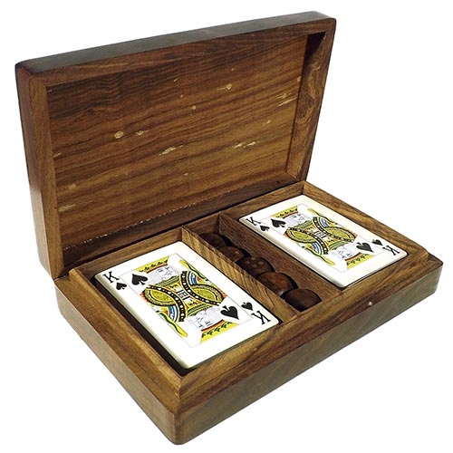 Caixa de Cards e Dados Tampo de Madeira Oldway - 17x11 cm
