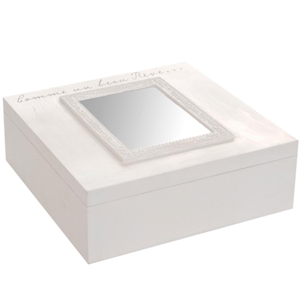 Caixa para Chá com Espelho - 9 Divisões Internas - Branco em Madeira - 24x24 cm