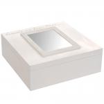 Caixa com Espelho - 9 Divisões Internas - Branco em Madeira