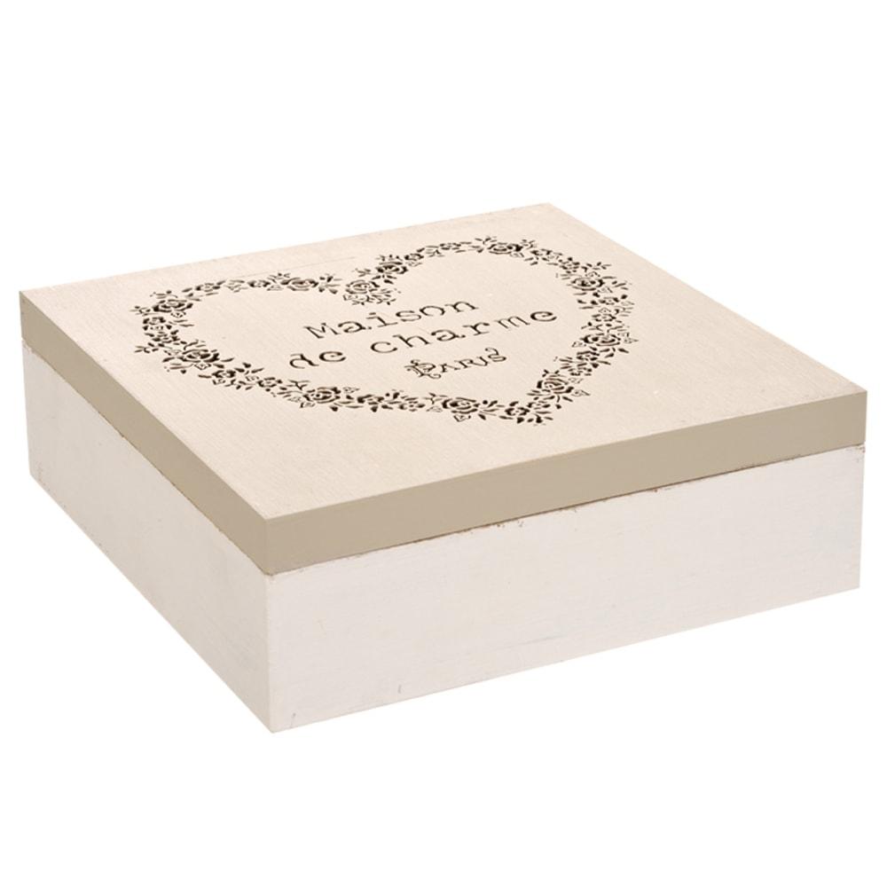 Caixa para Chá Maison de Charme - 9 Divisões Internas - Branco em Madeira - 24x24 cm