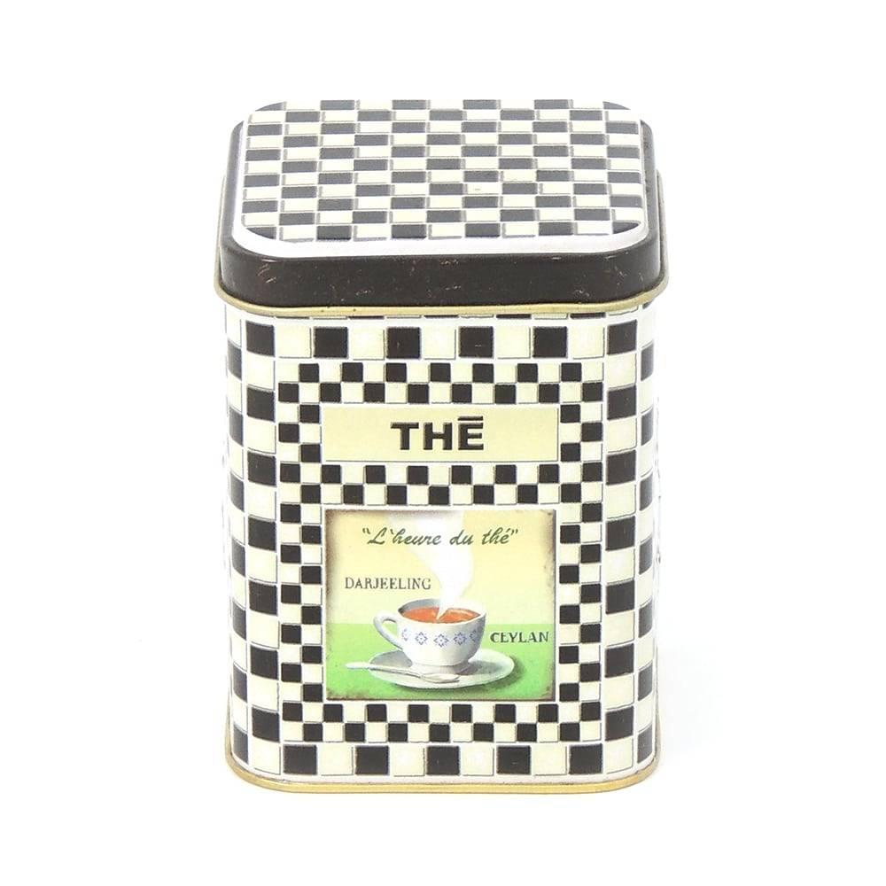 Caixa para Chá Meu Chá Predileto Preto e Branco em Metal - 9,5x7,5 cm