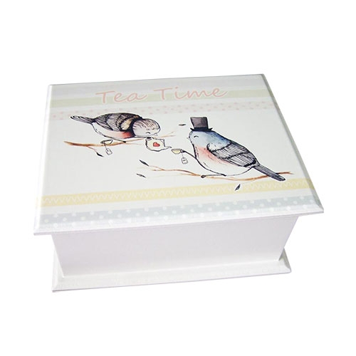 Caixa para Chás - 4 Divisórias - Pássaros em MDF - 20x16 cm