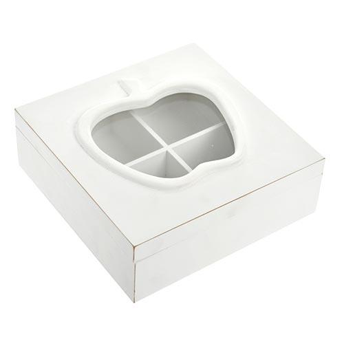 Caixa para Chás Apple - 4 Diviórias - em Madeira - 20x7 cm