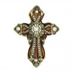 Caixa Crucifixo Borgonha Dourada com Pedrarias em Zinco e Estanho - 9x7 cm