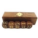 Caixa de Dados Oldway - Madeira / Bronze - 12,5x3,5 cm