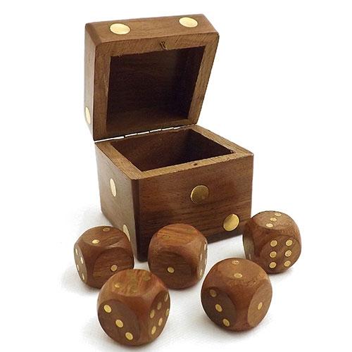 Caixa de Dados Oldway - Madeira / Bronze - 6,5x6,5 cm