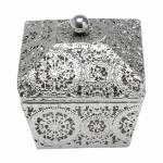 Caixa Decorativa Antique Quadrada em Ferro Niquelado - Prestige - 14x13 cm