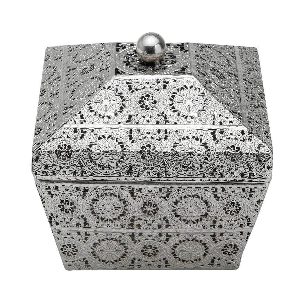 Caixa Decorativa Antique Quadrado em Ferro Niquelado - Prestige - 19x18 cm
