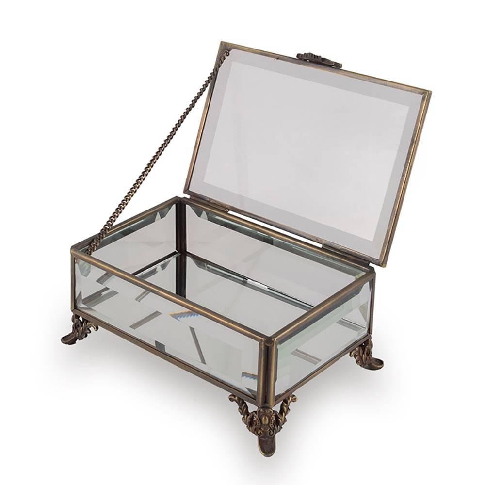 Caixa Decorativa Clarice Retangular Transparente em Vidro - 15x10 cm