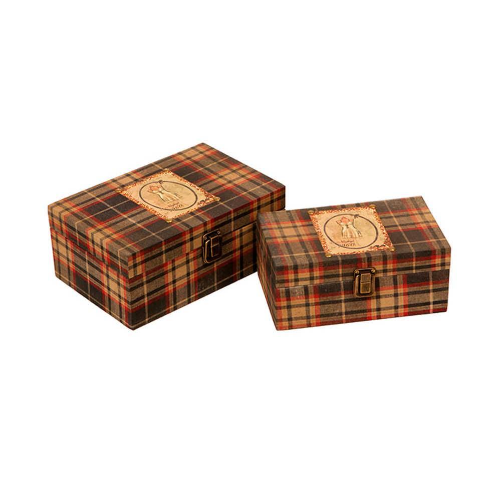 99221db6d82 Caixa Decorativa Croqui em Madeira Revestida em Tecido Xadrez - Pequena -  21x14 cm