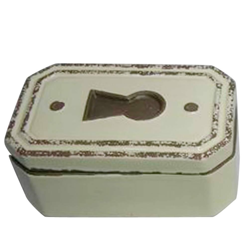 Caixa Decorativa Le Cle Chanfrada Creme em Cerâmica - Urban - 17x10,5 cm