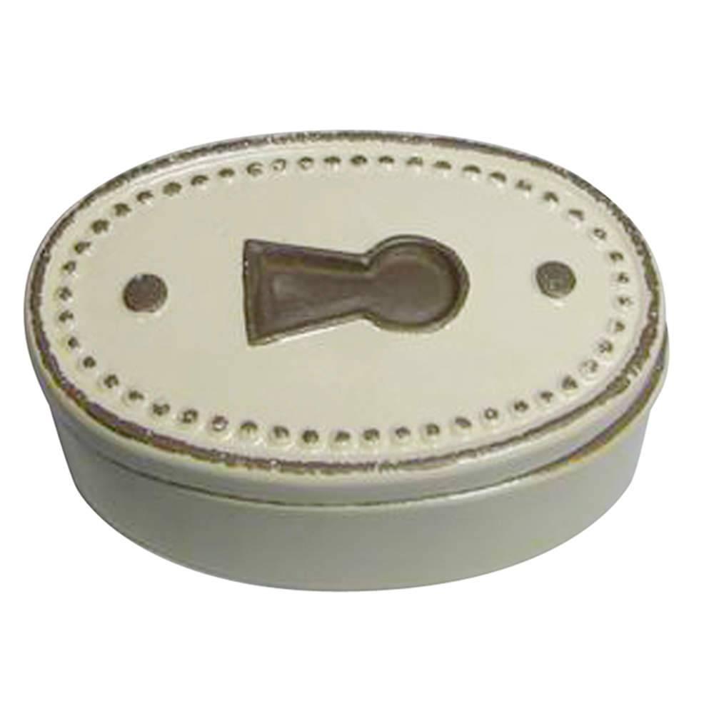 Caixa Decorativa Le Cle Oval Creme em Cerâmica - Urban - 17x10,5 cm