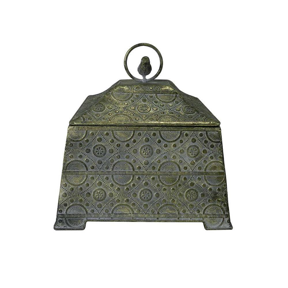Caixa Decorativa Vivere Grande Dourada em Metal - 27x26 cm