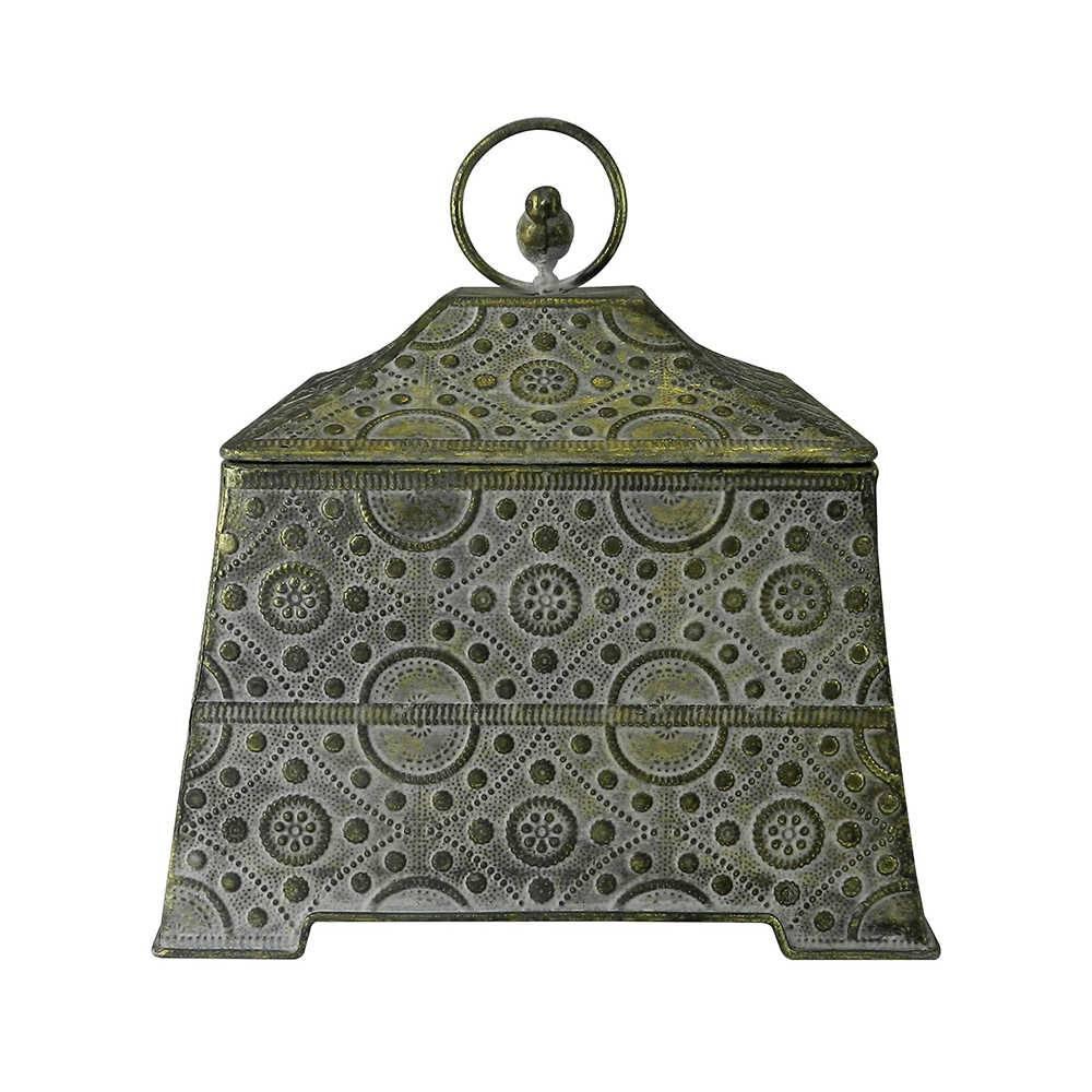 Caixa Decorativa Vivere Média Dourada em Metal - 23x22 cm
