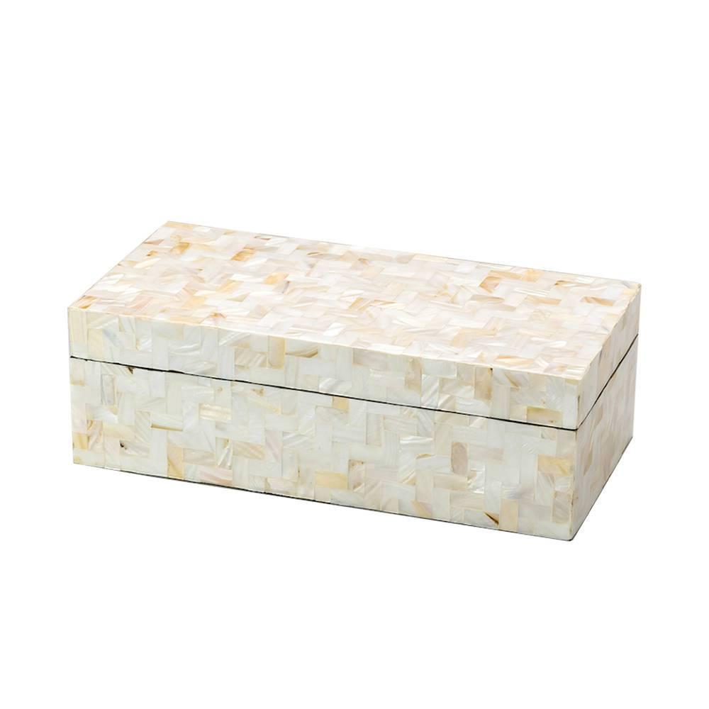 Caixa Delta Retangular Branco em Madrepérola - Prestige - 35x20 cm