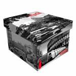 Caixa Desmontável Pequena Coca-Cola Landscape World Branco e Preto - 35x26,5 cm