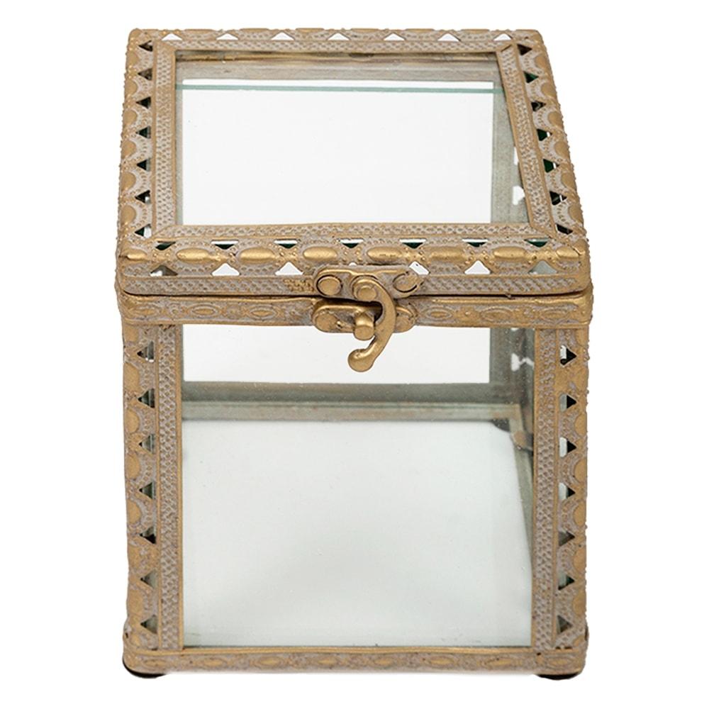 Caixa Florença Pequena Transparente/Ouro Envelhecido em Vidro - 11,2x9,8 cm