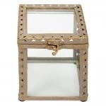 Caixa Florença Pequena Transparente/Ouro em Vidro