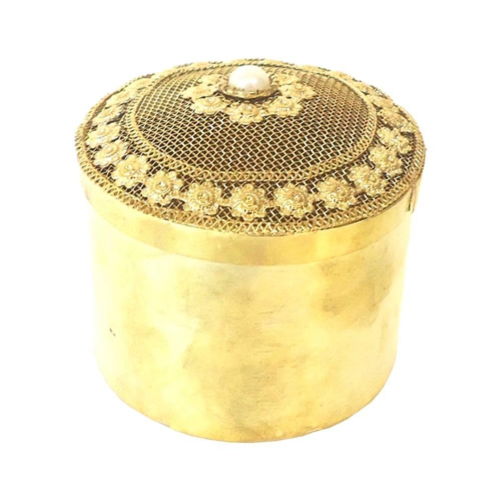 Caixa Indiana Dourada c/ Pérolas Redonda em Metal - 25x12 cm