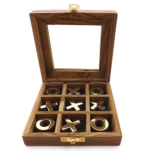 Caixa Jogo da Velha Oldway - Madeira / Bronze - 13x13 cm