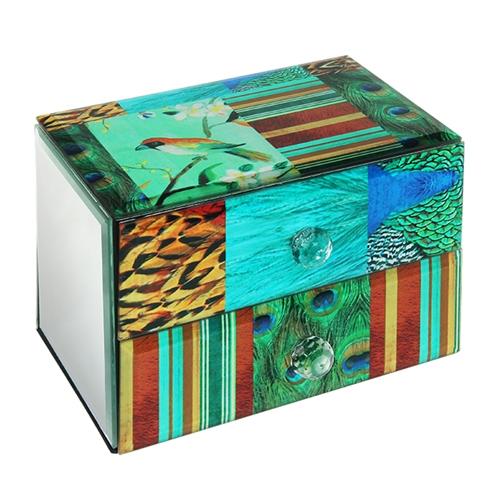 Caixa para Joias Pavão - 2 Gavetas - em Vidro - 18x12 cm
