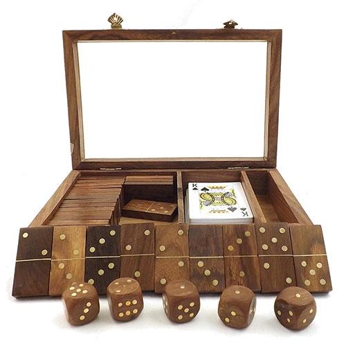 Caixa Kit de Jogos Oldway / Baralho, Dominó e Dados - Madeira / Vidro - 23x6 cm