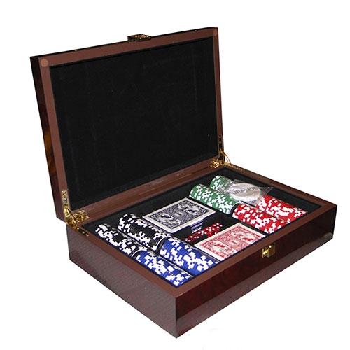 Caixa Kit Poker Las Vegas - Oldway - Em Madeira - 32x22 cm