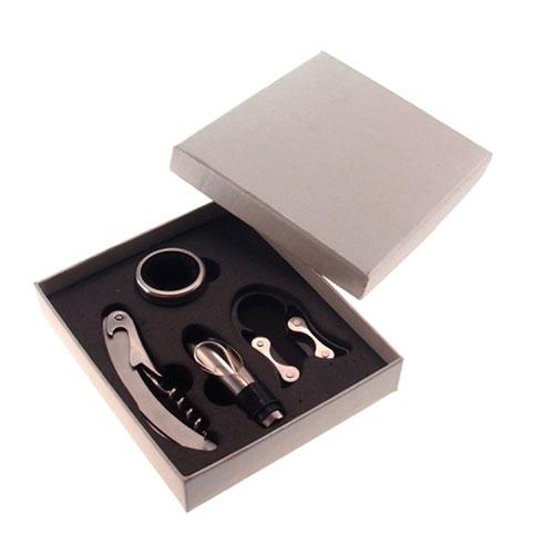 Caixa Kit para Vinho Prata em Metal - 15x13 cm