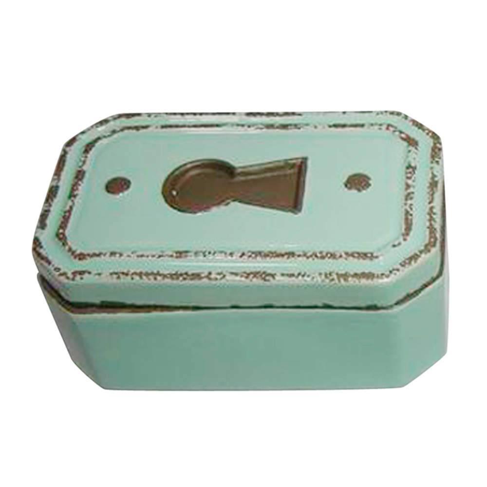 Caixa Le Cle Chanfrada Verde em Cerâmica - Urban - 17x10,5 cm