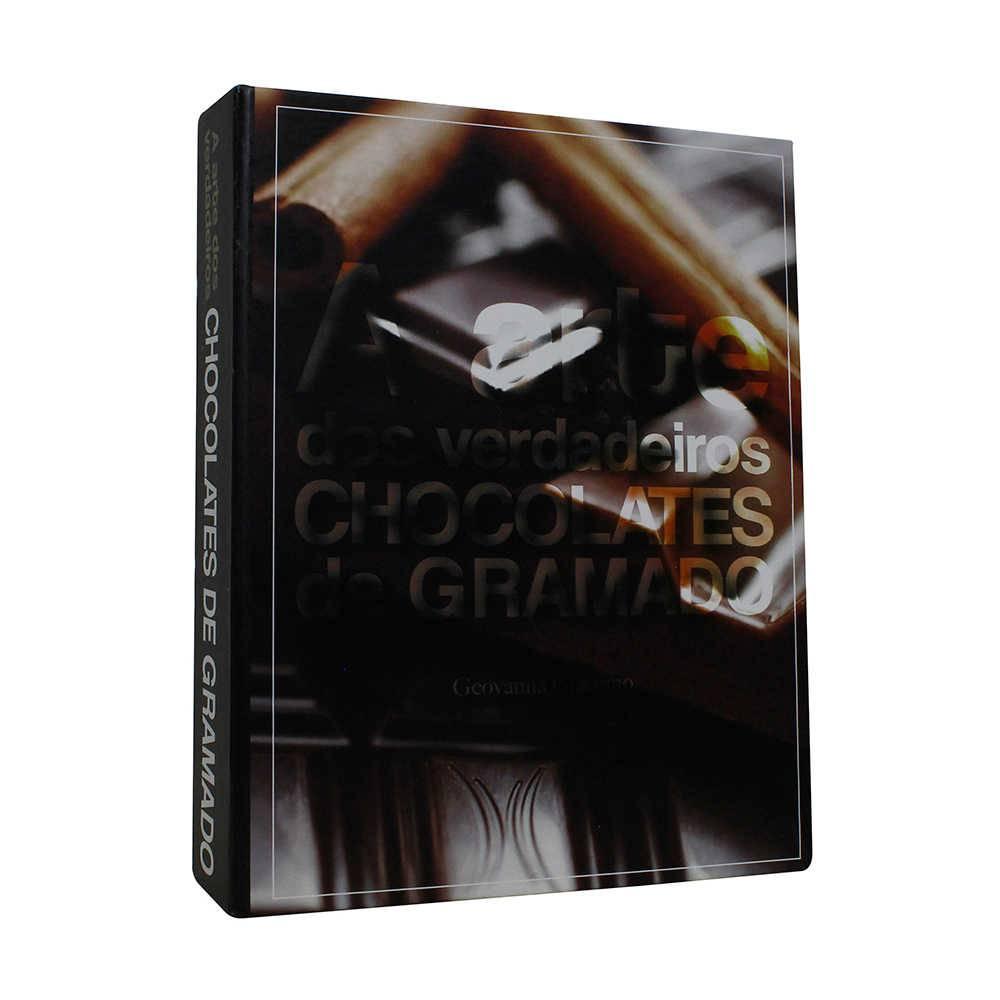 Caixa Livro A Arte dos Chocolates de Gramado Preto Fullway em Madeira - 20x16 cm
