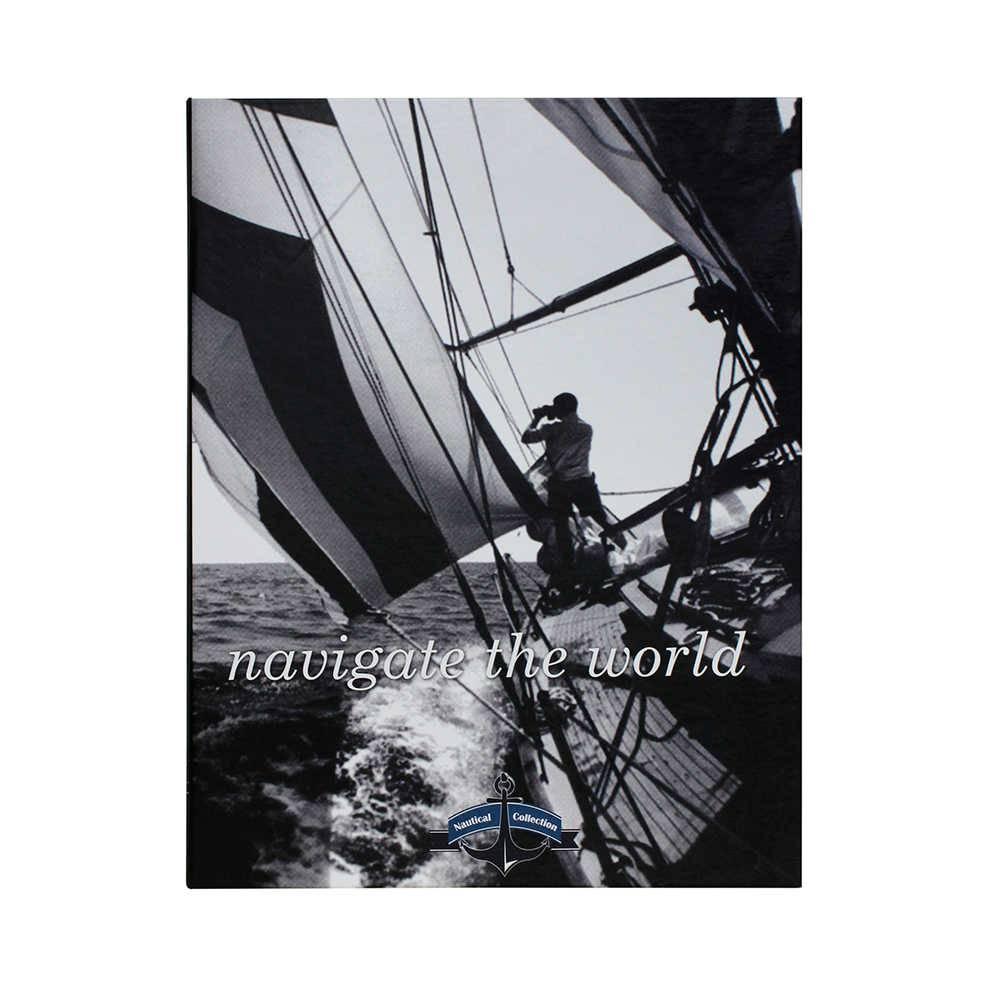 Caixa Livro Navigate The World Preto e Branco Fullway em Madeira - 30x24 cm