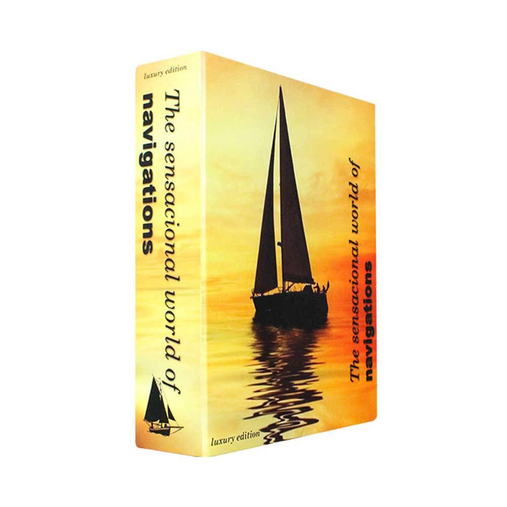 Caixa Livro The Sensational World Navigations Laranja Fullway em Madeira - 26x20 cm