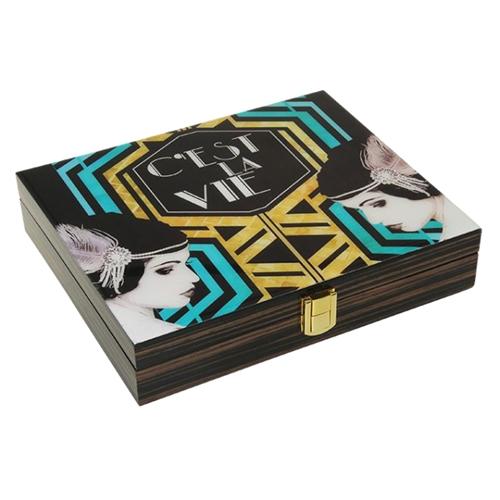 Caixa Luxo Art Deco em Madeira - 26x25 cm