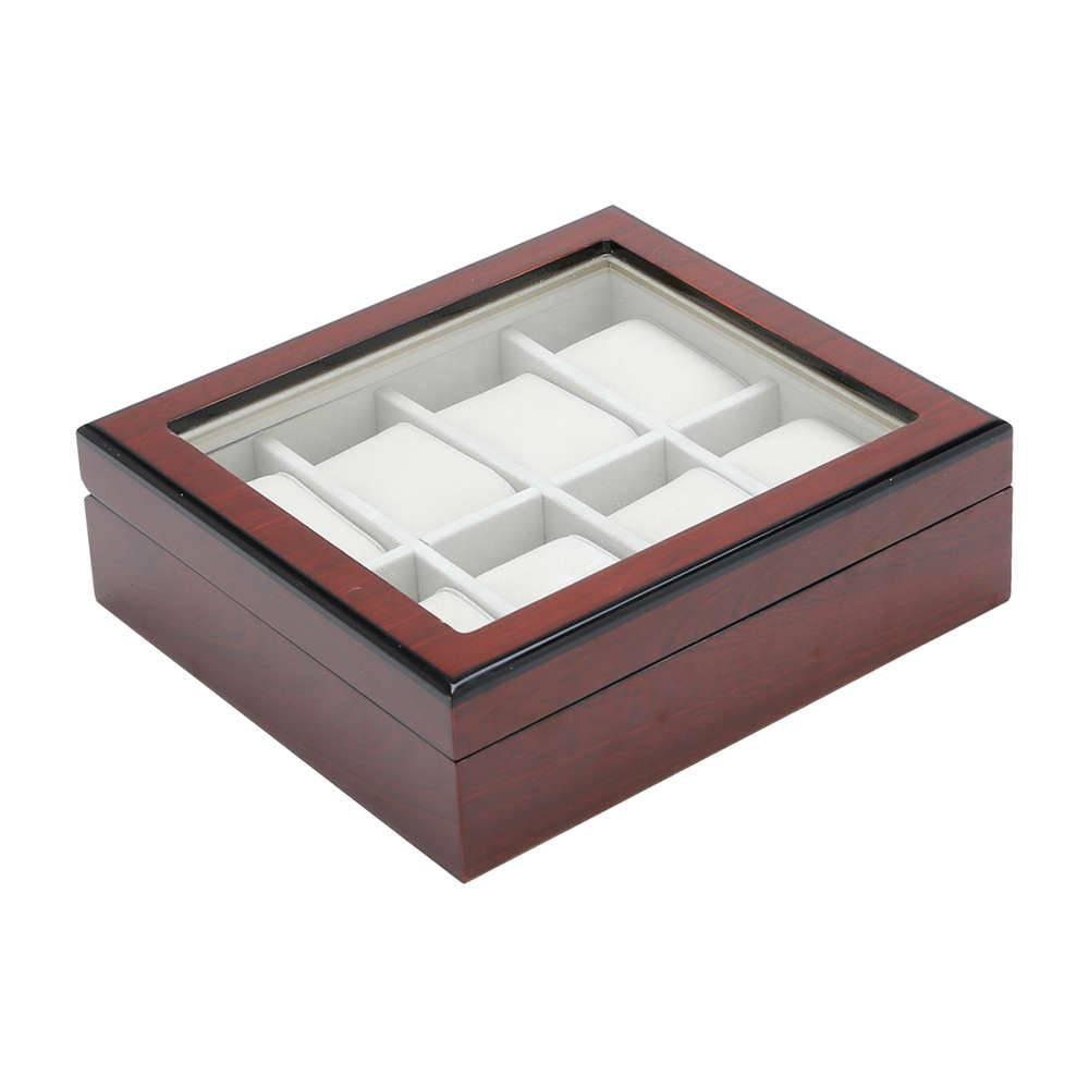 Caixa Luxo Pequena Marrom - para 8 Relógios - em Madeira - Prestige - 23x20,5 cm