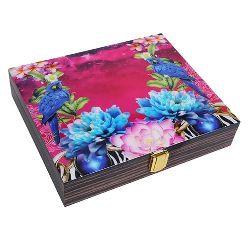 Caixa Luxo Tropical Arara em Madeira - 26x25 cm