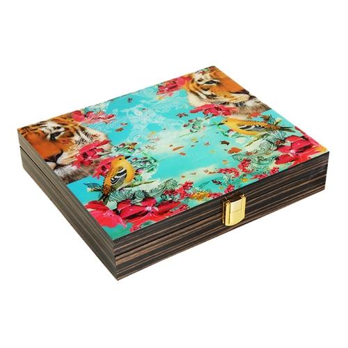 Caixa Luxo Tropical Pássaro em Madeira - 26x25 cm