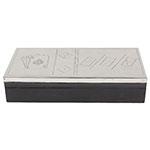 Caixa de Madeira Dominó/ Dados/ Cartas Tampa de Inox Oldway - 23x11 cm