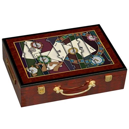 Caixa Madeira Kit Poker 500 Fichas Fullway - 37x29 cm