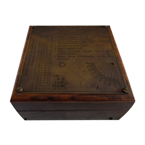 Caixa em Madeira Náutica c/ Instrumentos Antigos - 11,5x11,5 cm