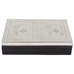 Caixa de Madeira Tampa de Inox com Cartas/ Dados Oldway - 4x18 cm
