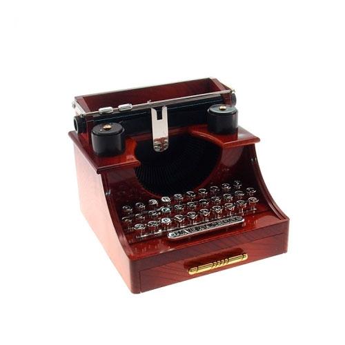 Caixa Musical Máquina de Escrever Retrô - Melodia Para Elisa - Marrom - 15x14 cm