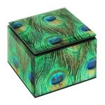 Caixa Pavão Pequena em Vidro - 10x10 cm