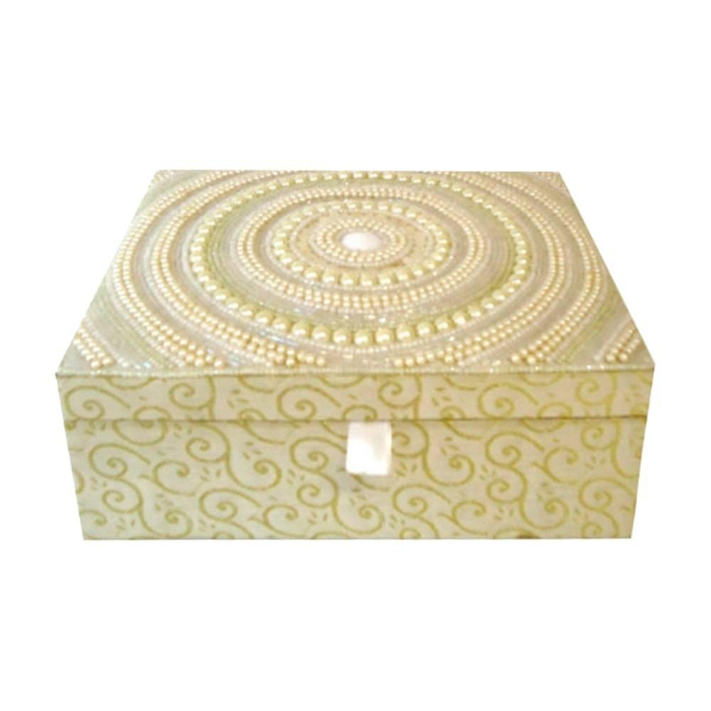 Caixa Porta-Joias Dourada c/ Pérolas Grande em Madeira - 17x15 cm