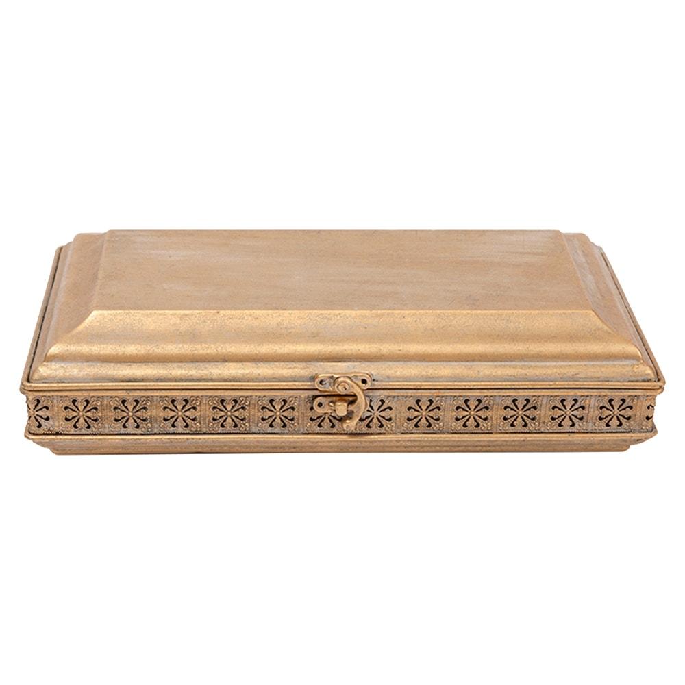 Caixa Porta-Joias Turquia Grande Ouro Envelhecido Metal - 31,7x18,8 cm