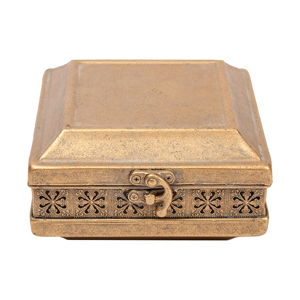 Caixa Porta-Joias Turquia Pequena Ouro Envelhecido em Metal - 16,5x15,2 cm