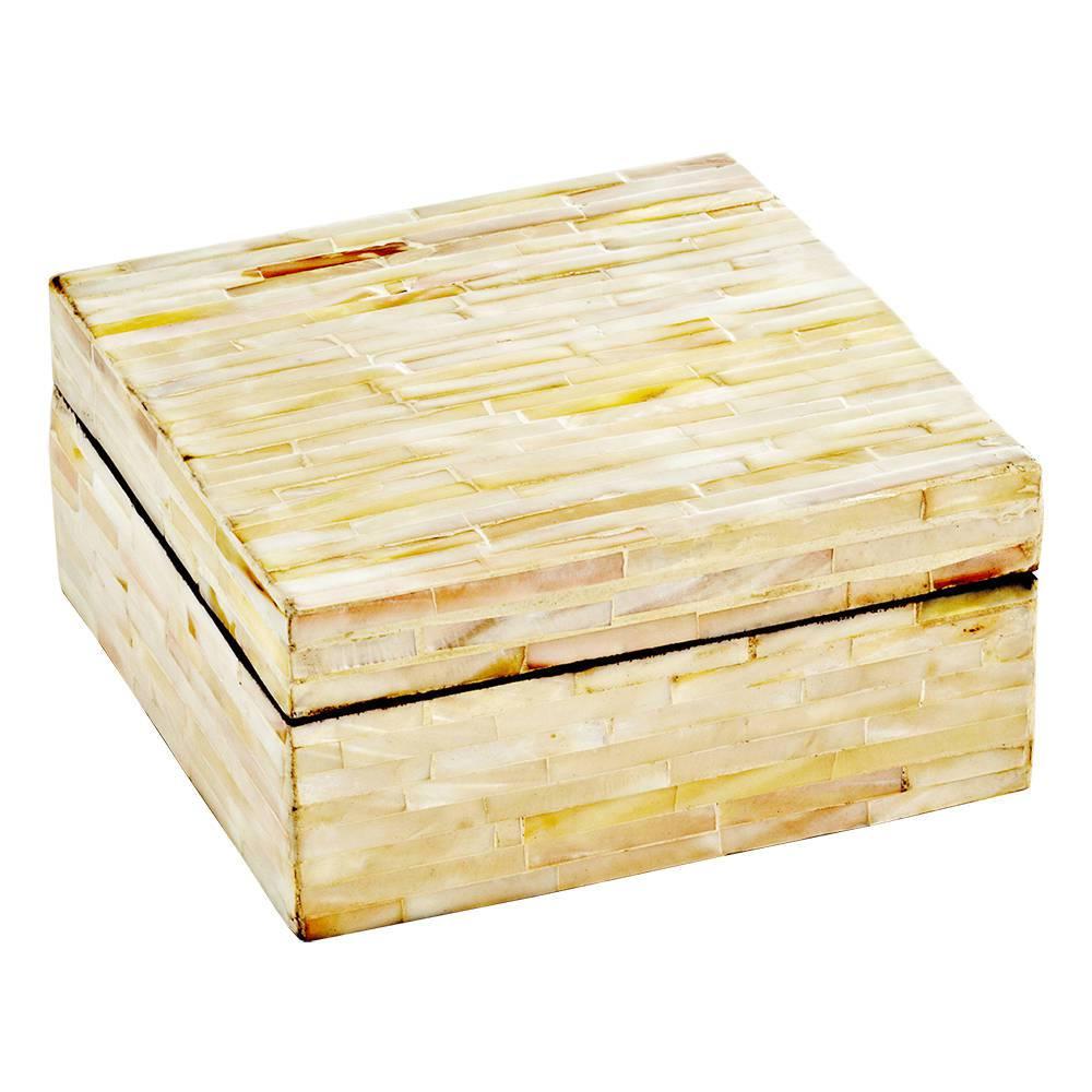 Caixa Quadrada Bege Grande em Madrepérola - Prestige - 25x13,5 cm