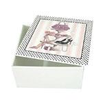 Caixa Quadrada Feminine World em MDF c/ Tampa - 14,5x7,5 cm