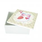 Caixa Quadrada Owl Love em MDF c/ Tampa - 11x5,5 cm