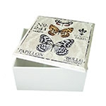 Caixa Quadrada Vintage Butterflies em MDF c/ Tampa - 14,5x7,5 cm