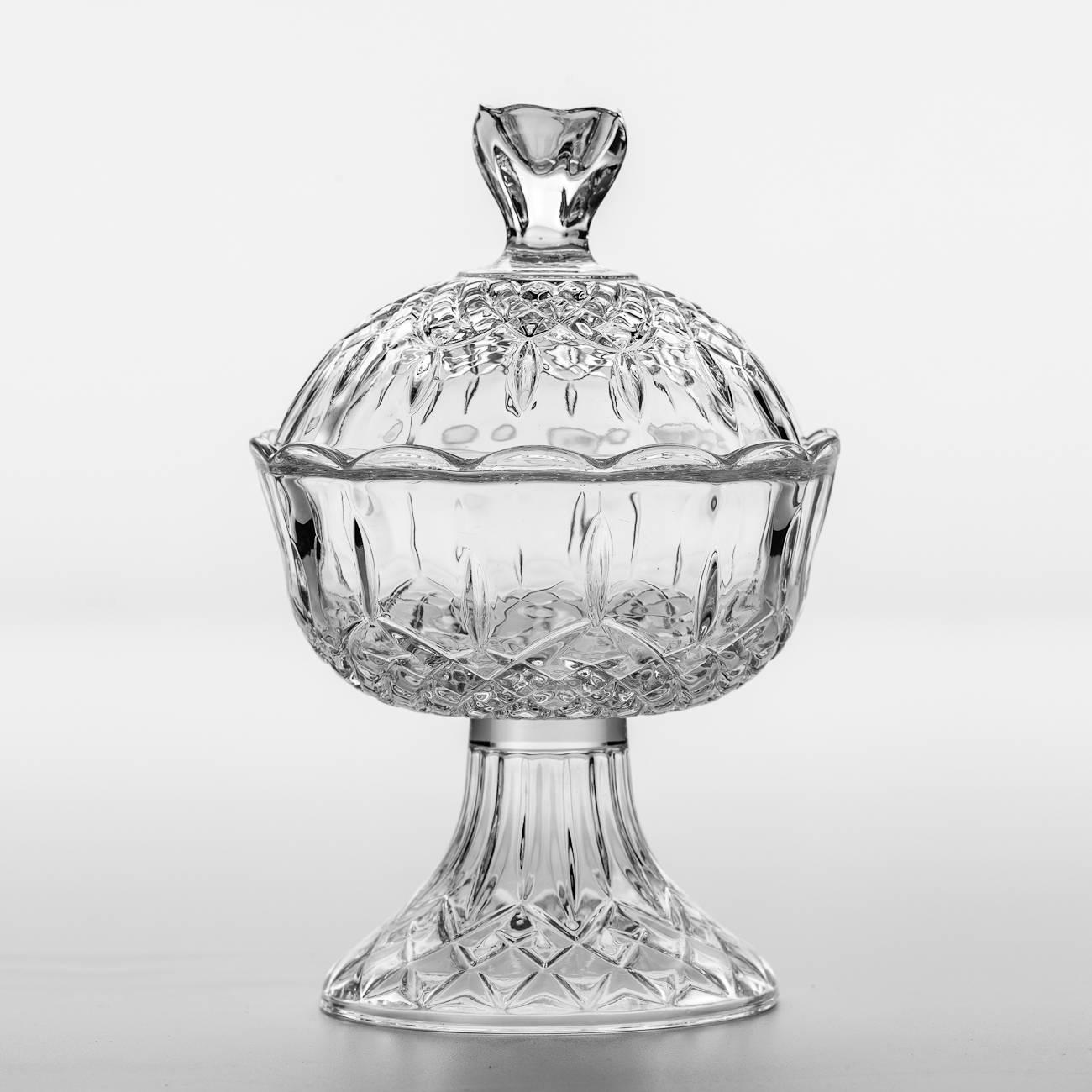 Bomboniere Rachel Pedestal Transparente em Cristal - 22x15 cm